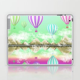 Pastel Hot Air Balloons Over Lake Digital Drawing Laptop & iPad Skin
