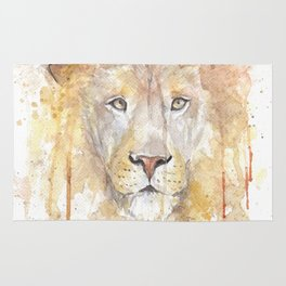 "Watercolor Painting of Picture ""African Lion"" Rug"