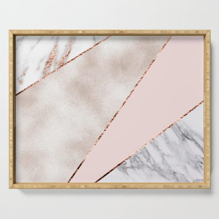 Spliced mixed rose gold marble Serving Tray