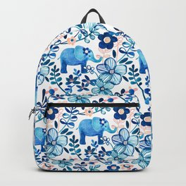 Blush Pink, White and Blue Elephant and Floral Watercolor Pattern Backpack