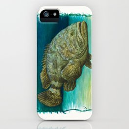 """""""Goliath Grouper"""" by Amber Marine ~ Watercolor Painting, (Copyright 2015) iPhone Case"""