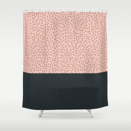 Navy Little Stripes On Pale Pink Shower Curtain