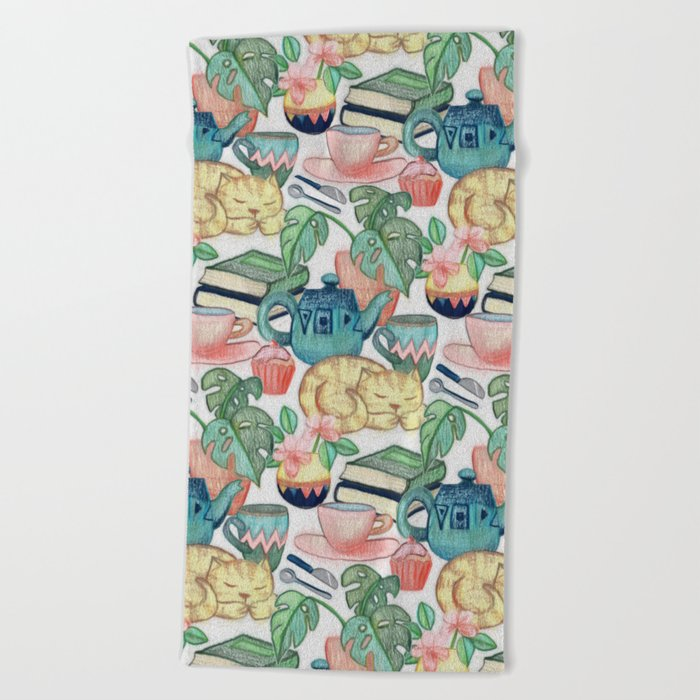 Lazy Afternoon - a chalk pastel illustration pattern Beach Towel