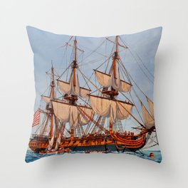 Revolutionary Painting of the Frigate Confederacy Throw Pillow