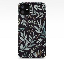 Black Eucalyptus Pattern iPhone Case