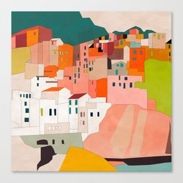 italy coast houses minimal abstract painting Canvas Print