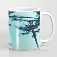 palm trees Mugs featuring Palm Trees by Alexandra Str