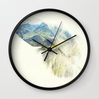 feather Wall Clocks featuring Feather by Kiki collagist