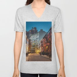 Twilight Hour - West Village, New York City Unisex V-Neck