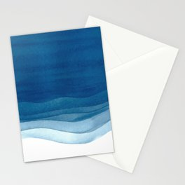 Watercolor blue waves Stationery Cards