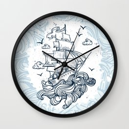 Hand drawn boat with waves background Wall Clock