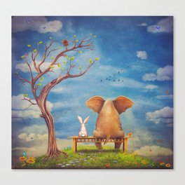 Elephant and rabbit sit on a bench on the glade Canvas Print