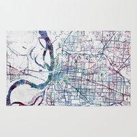 memphis Area & Throw Rugs featuring Memphis map by MapMapMaps.Watercolors
