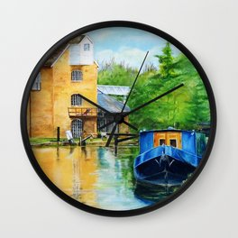 A narrow boat stops after passing through Coxes Lock near Addlestone in Surrey.  Wall Clock