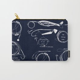 Maritime pattern- white fishing gear on darkblue background Carry-All Pouch