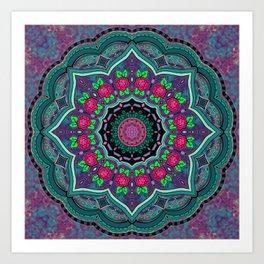 Mandala Project 608 | Purple Watercolor Background Art Print