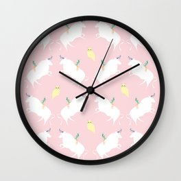 The girl, the bull and the owl, (pink) Wall Clock
