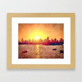 Sunset Over Miami Florida Framed Art Print