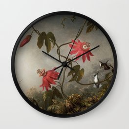 Passion Flowers With Hummingbirds 1883 By Martin Johnson Heade | Reproduction Wall Clock