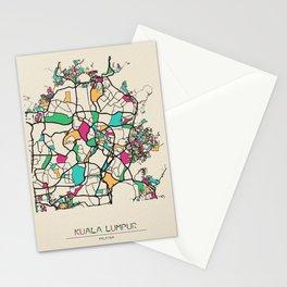 Colorful City Maps: Kuala Lumpur, Malaysia Stationery Cards