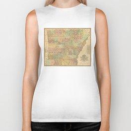 Vintage Map of Arkansas (1839) Biker Tank