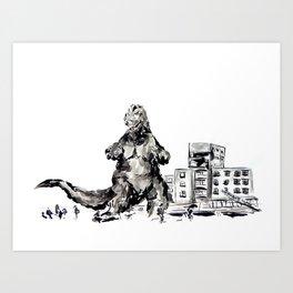 Gojira! - Godzilla in Sumi-e Style Art Print