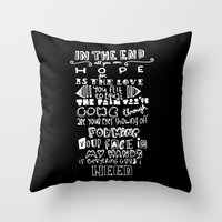 lettering Throw Pillows featuring Lettering Lyrics by Insait