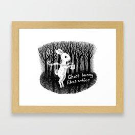 Ghost bunny likes coffee Framed Art Print