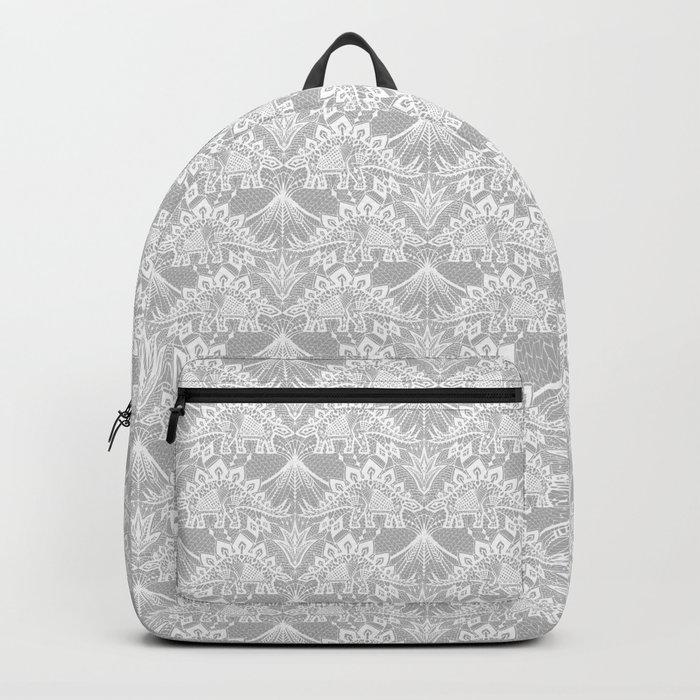 Stegosaurus Lace - White / Silver Backpack