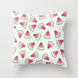 Summery Cute Watercolor Watermelons on Green Swirl Throw Pillow