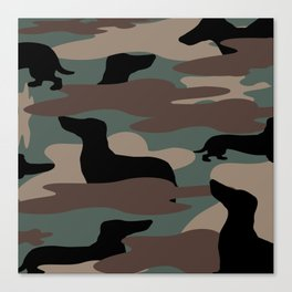Camo Weiner Dogg Canvas Print