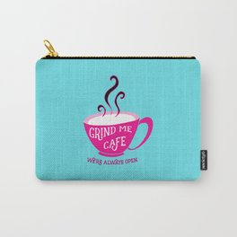 Grind Me Cafe - Blue Carry-All Pouch
