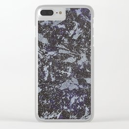 Black and White Ink on Purple Background Clear iPhone Case