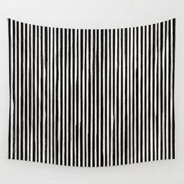 Skinny Stroke Vertical Off White on Black Wall Tapestry
