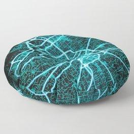 Murcia, Spain, Blue, White, Neon, Glow, City, Map Floor Pillow