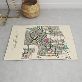 Colorful City Maps: New Orleans, Louisiana Rug