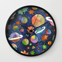 planet Wall Clocks featuring Planet by Michaella Fonseca