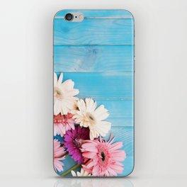 Flowers x Faded Blue Wood iPhone Skin