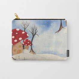 Mushroom Houses in Winter by Twelve Little Tales Carry-All Pouch
