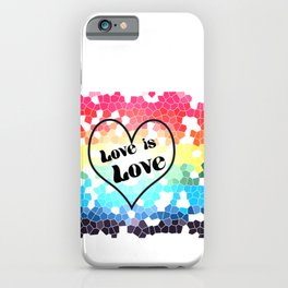 Love is Love Mosaic Pride Flag Design iPhone Case