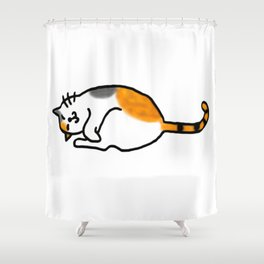 Comfy Calico Cat Shower Curtain