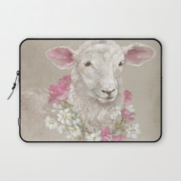 Sheep With Floral Wreath by Debi Coules Laptop Sleeve