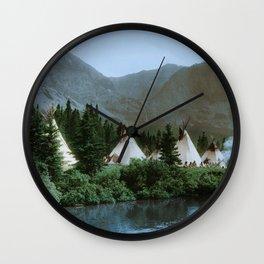 Blackfoot Camp Up the Cutbank in Montana Wall Clock