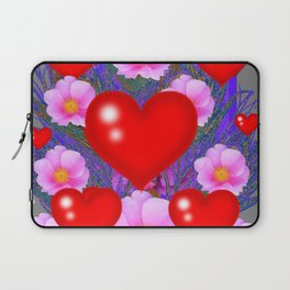 Red Hearts & Pink Wild Rose Valentine Purple Art Laptop Sleeve