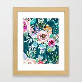 EFFUSIVE FLORAL Dark & Colorful Boho Pattern Framed Art Print
