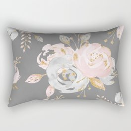 Night Rose Garden Gray Rectangular Pillow