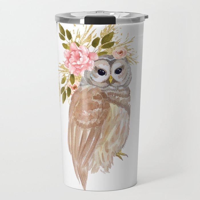 Owl with flower crown Travel Mug