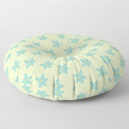 Teal flowers on a mint green background Floor Pillow