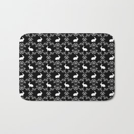 Rabbit pet silhouette floral rabbits bunny gifts cute minimal pets black and white Bath Mat