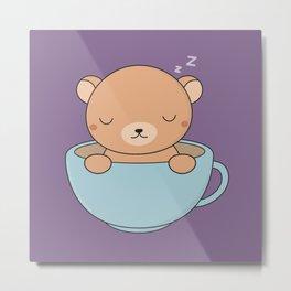 Kawaii Cute Coffee Brown Bear Metal Print